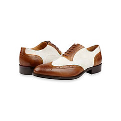 Italian Leather & Canvas Oxford Shoe Fashion in Brown and White- Mens Shoes