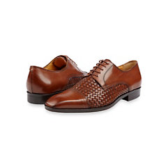 Italian Leather Woven Cap Toe Oxford Shoe
