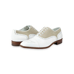 Italian Leather & Canvas Oxford Shoe- Similar to The Great Gatsby Movie Shoes