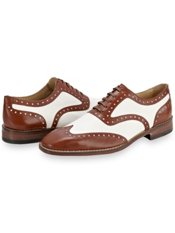 Italian Leather Two-tone Wingtip Oxford Shoe