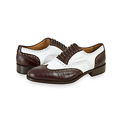 Italian Two Tone Leather Wingtip Oxford $210.00 AT vintagedancer.com