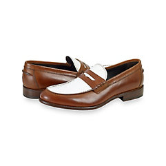 Italian Two Tone Leather Penny Loafer $160.00 AT vintagedancer.com