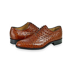 Italian Ostrich Embossed Leather Cap Toe Oxford $200.00 AT vintagedancer.com
