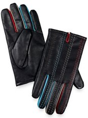 Leather Gloves with Contrast Stitch