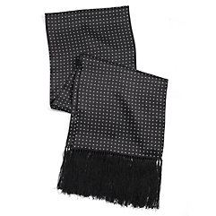 New 1930s Mens Fashion Ties Dot Silk Scarf With Fringe $55.00 AT vintagedancer.com