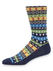 Merino Wool Blend Patterned Stripe Socks