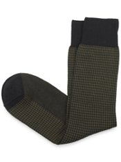 Mercerized Pima Cotton Blend Over-the-Calf Houndstooth Sock