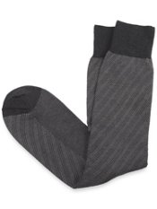 Mercerized Pima Cotton Blend Over-the-Calf Stripe Sock