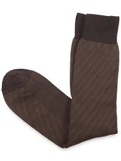 Mercerized Pima Cotton Blend Mid-Calf Stripe Sock