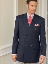 100% Wool Double-Breasted Travel Blazer