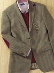 100% Italian Wool Check Two-Button Sport Coat