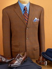 100% Wool Windowpane Three-Button Sport Coat