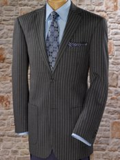 100% Wool Flannel Two-Button Notch Lapel Stripe Sport Coat