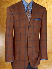 100% Wool Three-Button Notch Lapel Windowpane Sport Coat