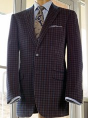 100% Cotton Velvet Two-Button Notch Lapel Check Sport Coat