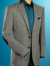 100% Wool Two-Button Notch Lapel Herringbone Sport Coat