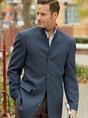 100% Wool Six-Button Tab Collar Chalk Stripe Sport Coat