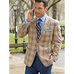 Camel with Light Blue and Brown Plaid Pure Wool Sport Coat $210.00 AT vintagedancer.com