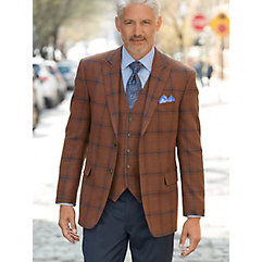 Rust with Blue and Navy Plaid Pure Wool Sport Coat $190.00 AT vintagedancer.com
