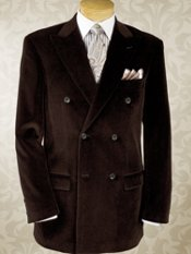 Cotton Velvet Double-Breasted Peak Lapel Blazer