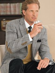 100% Wool Two-Button Plaid Sportcoat