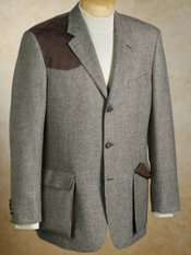 100% Wool Three-Button Suede Shoulder Patch Sportcoat