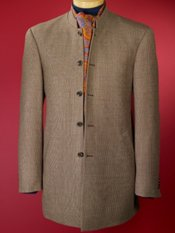 100% Wool Check Stand Collar Sport Coat