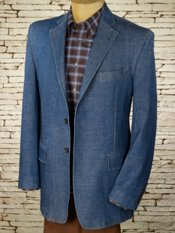 Cotton Blend Denim Notch Lapel Sport Coat