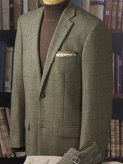 Italian Wool Blend Windowpane Notch Lapel Sport Coat