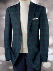 100% Wool Tartan Plaid Notch Lapel Sport Coat