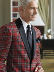 100% Wool Tartan Plaid Shawl Collar Dinner Jacket