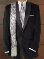 100% Cotton Velvet Pindot Shawl Collar Dinner Jacket