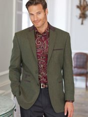 Wool Plaid Notch Lapel Sport Coat