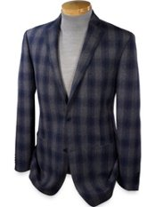 Wool Blend Buffalo Plaid Notch Lapel Sport Coat