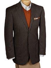 100% Wool Two-Button Notch Lapel Stripe Sport Coat