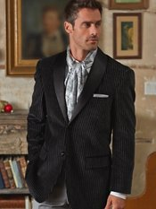 100% Cotton Velvet Two-Button Shawl Collar Stripe Sport Coat