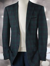 100% Wool Tartan Plaid Two-Button Notch Lapel Sport Coat