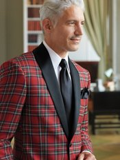 100% Wool Tartan Plaid Single-Button Shawl Collar Sport Coat
