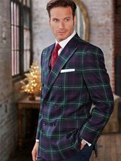 100% Wool Tartan Plaid Double Breasted Peak Lapel Sport Coat