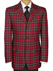 100% Wool Tartan Plaid Three-Button Notch Lapel Sport Coat
