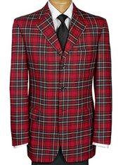 100% Wool Tartan Plaid Three-Button Notch Lapel Sport Coat