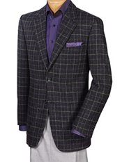 100% Wool Two-Button Notch Lapel Windowpane Sport Coat