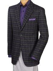 100% Wool Two-Button Notch Lapel Windowpane Sport Coat