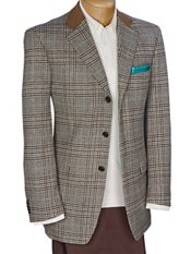 100% Wool Three-Button Notch Lapel Glen Plaid Sport Coat