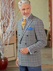 100% Wool Double Breasted Peak Lapel Plaid Sport Coat