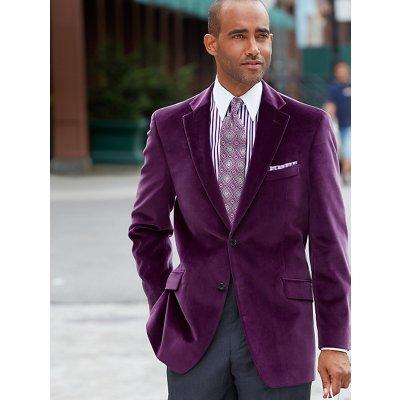 Purple Solid Pure Cotton Velvet Sport Coat Paul Fredrick