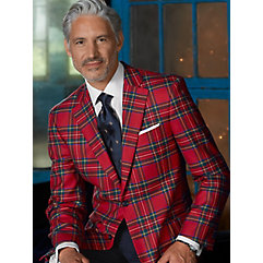 Red Tartan Plaid Pure Wool Sport Coat $260.00 AT vintagedancer.com