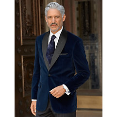 Rockabilly Men's Clothing Navy Solid Velvet Sport Coat $214.00 AT vintagedancer.com