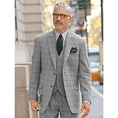 1930s Style Mens Suits Pearl Grey Windowpane Pure Wool Sport Coat $200.00 AT vintagedancer.com