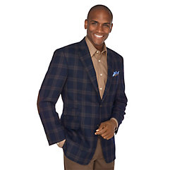 1960s Style Mens Suits- Skinny Suits, Mod Suits, Sport Coats Navy Plaid Pure Wool Sport Coat $139.00 AT vintagedancer.com